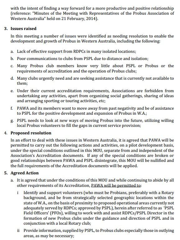 Memorandum of Understanding between Probus Pacific Limited (PSPL) and The Probus Association of Western Australia Inc (PAWA)